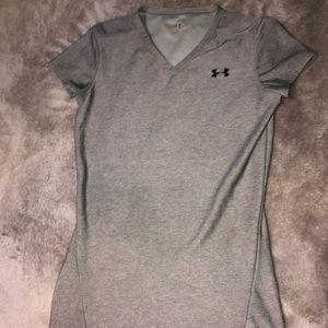 Gray Under Armour V Neck Short Sleeve